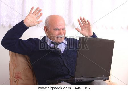 Grandfather And Computer
