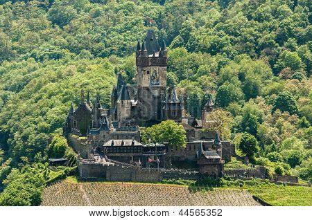 View Of Reichsburg Castle In Cochem In Germany From Pinnerkreuz
