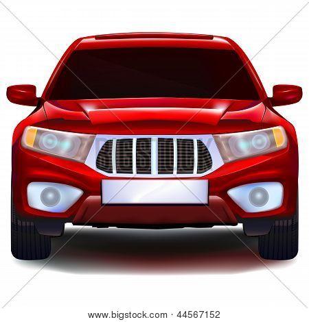 Автомобиль красный кроссовер с пустым номерная табличка