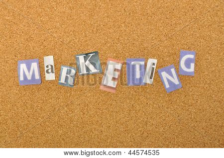 Marketing Word Made From Newspaper Letter