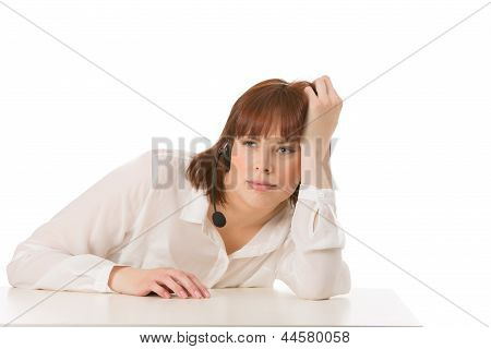 Bored Woman Wearing A Headset