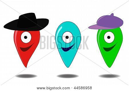 Set of funny vector GEO locations pins