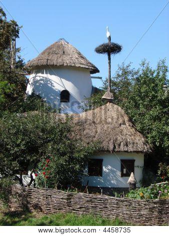 Ancient Ukrainian Yard With Stork Nest
