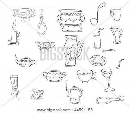 Big set of kitchen tools vector sketch in simple black lines