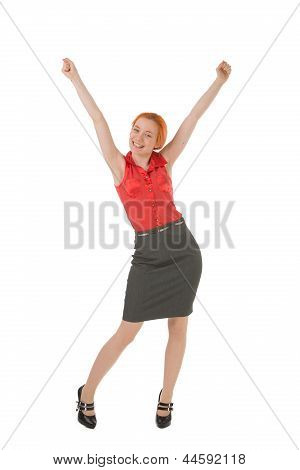 Young Woman Rejoicing