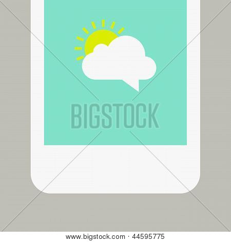 Phone Screen With Sunny Message. Vector Illustration