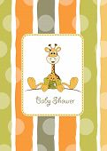 baby shower card with baby giraffe vector illustration poster