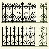 Wrought iron modular railings and fences on light background poster