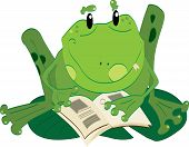 Vector illustraion of the cartoon style Frog reading poster
