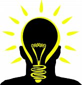 a man with a yellow lightbulb idea poster