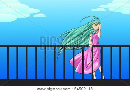 A Woman Is Standing On The Porch Longing For Someone (vector)