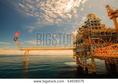 Oil and gas platform in offshore or Offshore construction