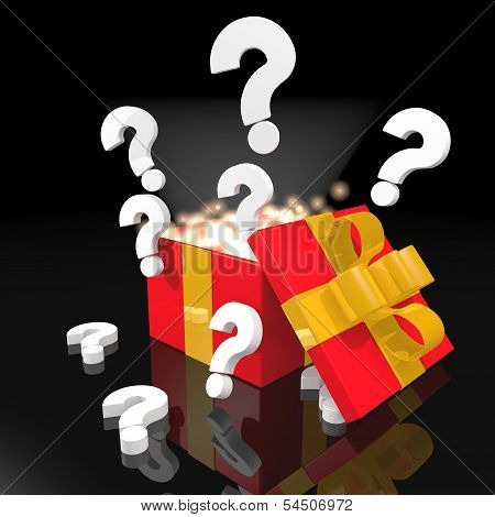 Noble Christmas Present With Question Symbol