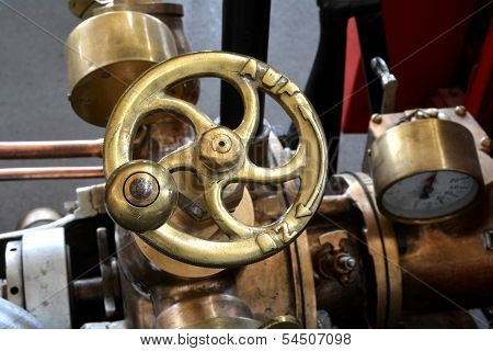 Detail of a historic fire engine