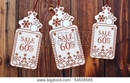 Three Christmas Cards With Christmas Sale 60 Percent Off Sign
