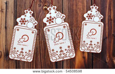 Three Christmas Cards With Click Here Sticker