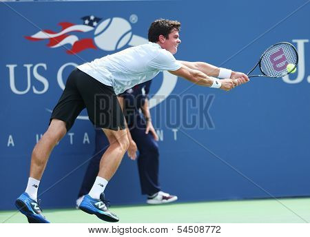 Professional tennis player  Milos Raonic during third round singles match at US Open 2013