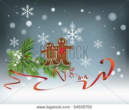 Christmas Background with Gingerbread men