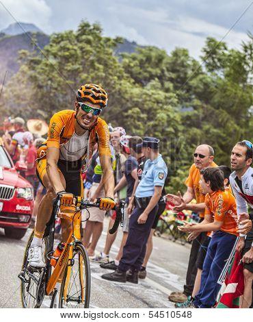 Mikel Astarloza  Climbing Alpe D'huez