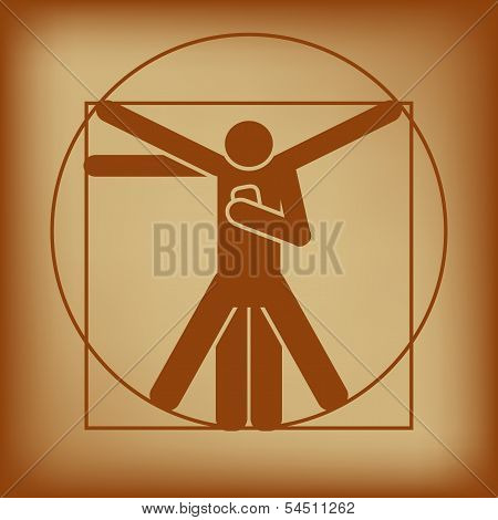 Abstract Vector Illustration Of Vitruvian Man Checking Smartphone poster