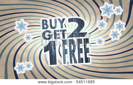 Vintage Wooden Buy Two Get One Free Symbol