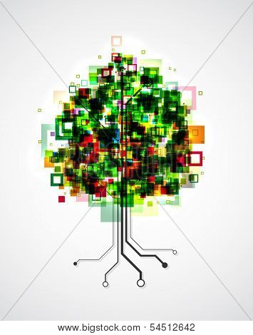 Concept image of a technology tree, with pixels in the crown and roots formed by semiconductor tracks. EPS10 vector image. poster