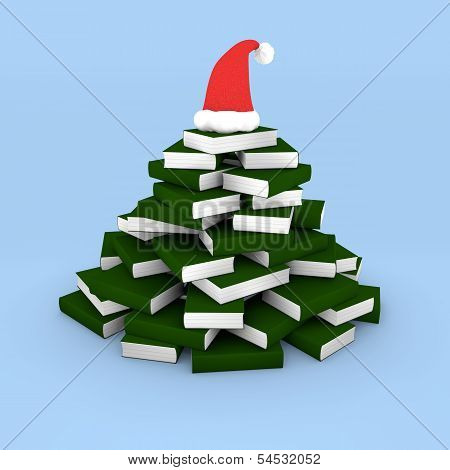 Christmas Tree Made Of Books With Cap