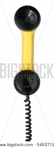 Handset Of Vintage Yellow Telephone. Clipping Path