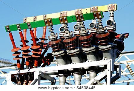 High-voltage Electric Cables In A Power Plant To Produce Electricity