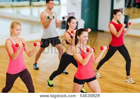 fitness, sport, training, gym and lifestyle concept - group of smiling people working out with dumbbells in the gym poster