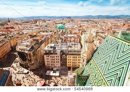 Stephansplatz And Cityscape Of Vienna