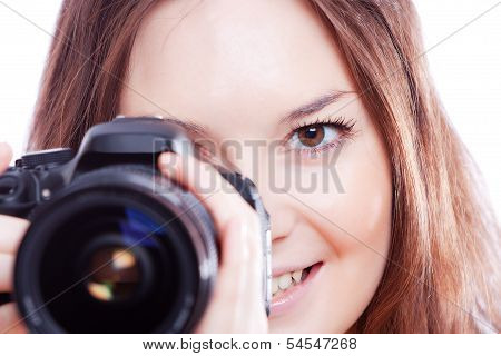 smiling woman with professional camera