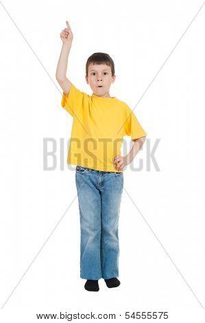 boy in yellow shirt show finger