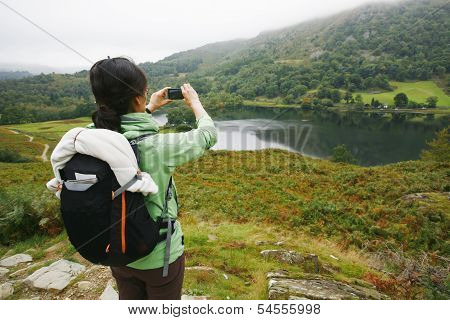 Woman Hiking In Lake District