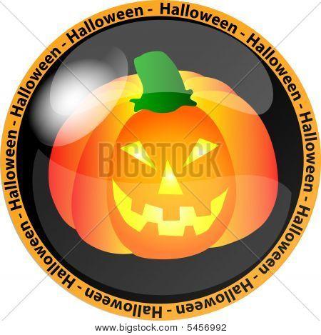 halloween button with a pumpkin