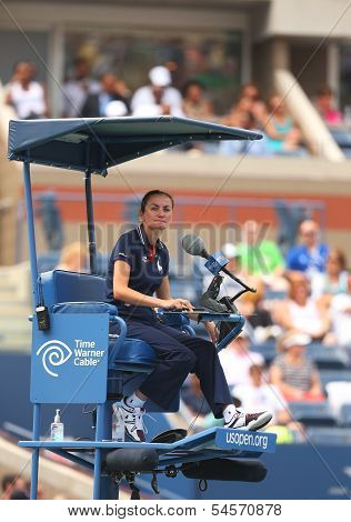 Chair umpire during first round match between Venus Williams and Kirsten Flipkens at US Open 2013