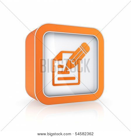 Notepad icon, isolated on white, 3d rendered. poster