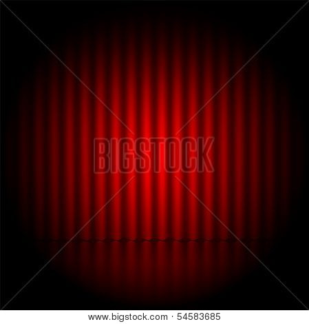 Theatrical Background.scene And Red Curtains.scene Illuminated Floodlight.vector
