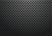 Silver metal background with hexagon holes and light reflection poster