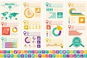 Flat Infographic Elements plus Icon Set. Vector EPS 10. poster