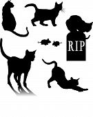 Silhouette outlines of cats and kittens standing stretching mice cat on a grave headstone for Halloween pets or veterinarian poster