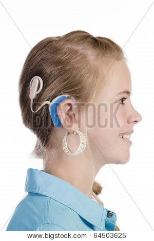 Blond Girl With Cochlear Implant