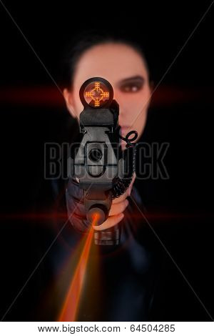 Woman Spy Aiming Gun with Laser Sights