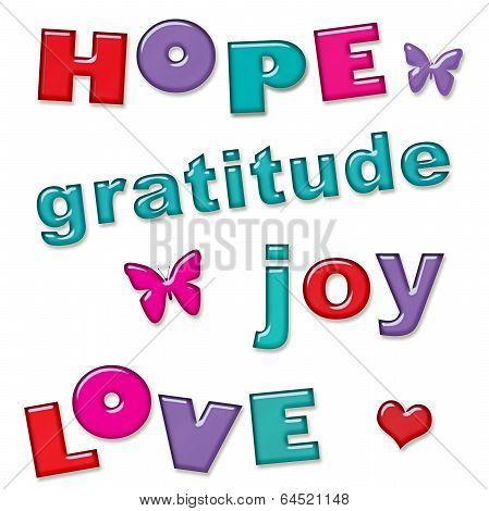 Love Hope Joy Gratitude Text