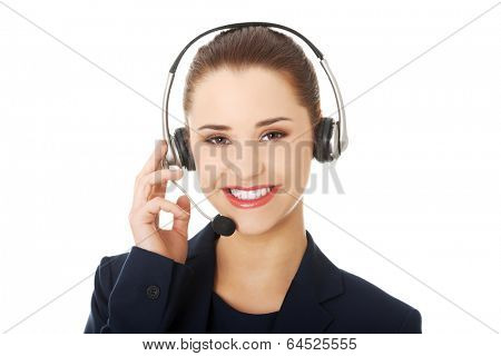 Smiling call center woman with headset poster