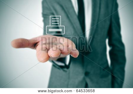 a businessman with an icon of a printer printing a document in his hand