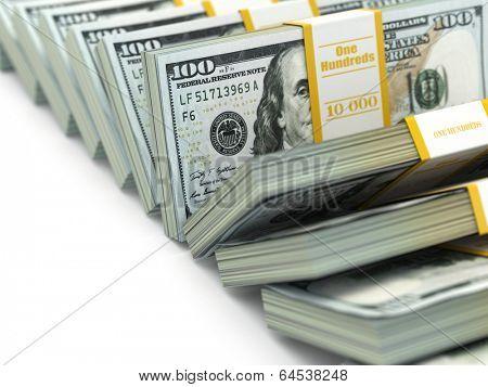 Row of packs of dollars. Lots of cash money. 3d