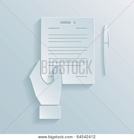 Paper icon of a hand holding a business offer  agreement or contract with a pen alongside for signing the deal poster