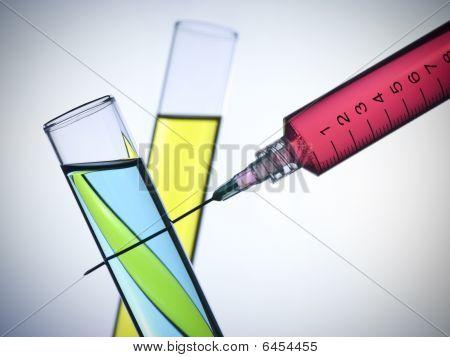 Syringe And Test Tubes
