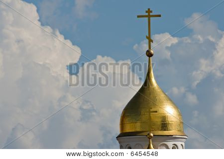 Church Cupola On Sky Background